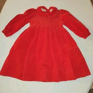 Vtg HEIRLOOMS By Polly Finders Red Corduroy Dress